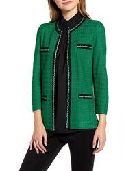 Ming Wang Braided Trim Jacquard Jacket - Green