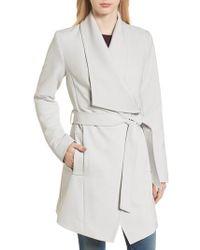 Tahari - Abbey Draped Collar Wrap Coat - Lyst