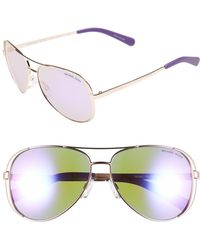 15504b2bfb Michael Kors - Collection 59mm Aviator Sunglasses - Purple - Lyst