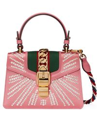 3c54b6ea1e4 Gucci - Mini Sylvie Crystal Burst Top Handle Leather Shoulder Bag - - Lyst