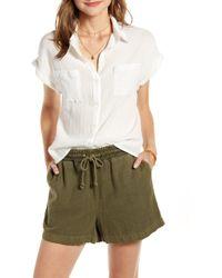 Treasure & Bond - Metallic Stripe Shrunken Cotton Camp Shirt - Lyst