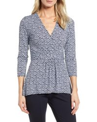 Chaus - Scattered Tiles Faux Wrap Knit Top - Lyst