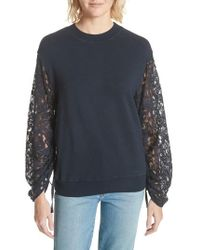 CLU - Lace Sleeve Sweatshirt - Lyst
