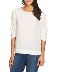 1.STATE - Ruched Sleeve Blouse - Lyst