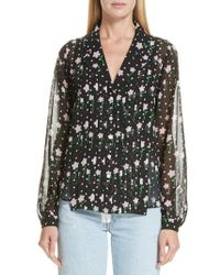 Sandy Liang - Floral Print Pleated Silk Blouse - Lyst