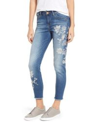 Wit & Wisdom - Embroidered Frayed Hem Ankle Jeans - Lyst