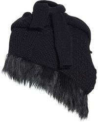 Simone Rocha - Faux Fur Trim Patchwork Knit Scarf - Lyst