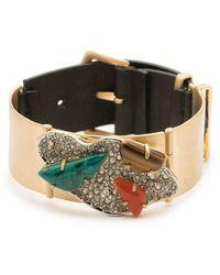 Alexis Bittar - Crystal Encrusted Leather Strap Bracelet - Lyst