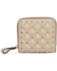 Valentino - Rockstud Matelasse Leather French Wallet - Lyst