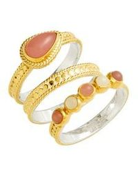 Anna Beck - Guava Quartz & Moonstone Set Of 3 Stacking Rings - Lyst