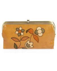 Hobo - Lauren Continental Flower Stitch Leather Wallet - Lyst