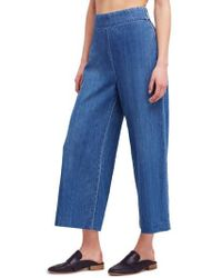 Free People - High Waist Crop Wide Leg Jeans - Lyst