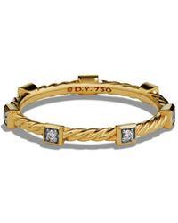 David Yurman - Paveflex Ring With Diamonds In 18k Gold - Lyst