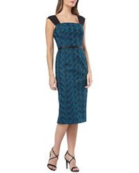 Kay Unger - Geometric Embroidered Sheath - Lyst