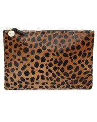 Clare V. - Leopard Print Genuine Calf Hair Clutch - - Lyst