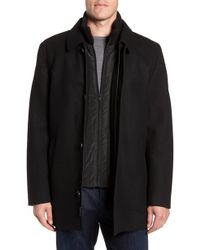 Vince Camuto - Melton Car Coat With Removable Bib - Lyst