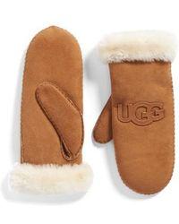 UGG - Ugg Heritage Logo Genuine Shearling Mittens - Lyst