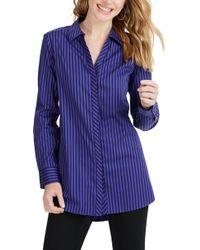 Foxcroft - Vera Holiday Stripe Tunic Shirt - Lyst