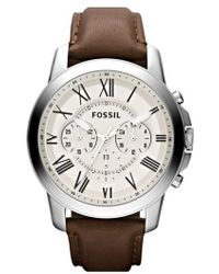 Fossil | 'grant' Round Chronograph Leather Strap Watch | Lyst