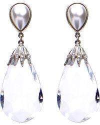 Ben-Amun - Imitation Pearl & Crystal Drop Earrings - Lyst