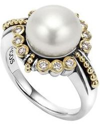 Lagos | Luna Diamond & Pearl Ring | Lyst