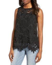 Everleigh - Lace Front Sleeveless Top - Lyst