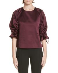 Rosetta Getty - Ruched Sleeve Stretch Duchess Satin Top - Lyst