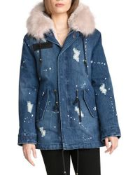 Avec Les Filles | 3-in-1 Distressed Denim Parka With Faux Shearling Trim | Lyst
