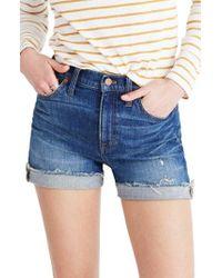 Madewell - High Rise Cuffed Denim Shorts - Lyst
