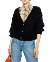 TOPSHOP - Horn Button Crop Cardigan - Lyst
