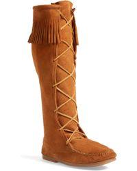 Minnetonka - Knee High Moccasin Boot - Lyst