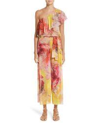 Fuzzi - Print Tulle One-shoulder Jumpsuit - Lyst
