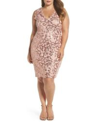 Marina - Sequin Lace Party Dress - Lyst