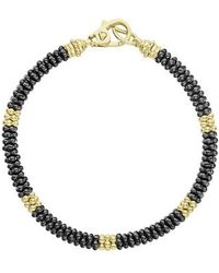 Lagos - Gold & Black Caviar Beaded Station Bracelet - Lyst