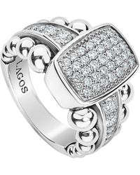 Lagos - Sterling Silver Caviar Spark Diamond Station Ring - Lyst
