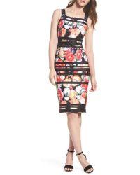 Adrianna Papell | Stripe Botanical Scuba Sheath Dress | Lyst