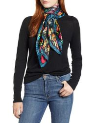 Echo - Parakeet Floral Square Silk Scarf - Lyst