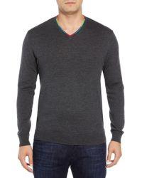 Bugatchi - V-neck Merino Wool Sweater - Lyst