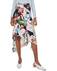 TOPSHOP - Spliced Floral Print Midi Skirt - Lyst