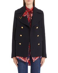 Valentino - V-detail Double Face Wool Peacoat - Lyst