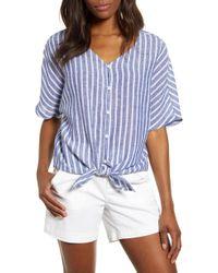 09f1ddf141 Beach Lunch Lounge - Kelli Stripe Tie Front Linen & Cotton Blouse - Lyst