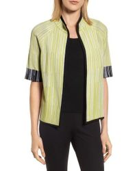 Ming Wang - Short Sleeve Jacquard Jacket - Lyst