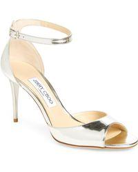 1453ea2e1ed Lyst - Jimmy Choo Annie 100 Sandals in Metallic