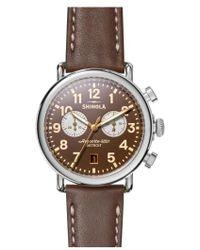 Shinola - 'the Runwell Chrono' Leather Strap Watch - Lyst