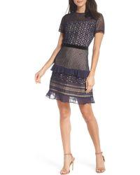 Chelsea28 - Velveteen Belt Lace Sheath Dress - Lyst