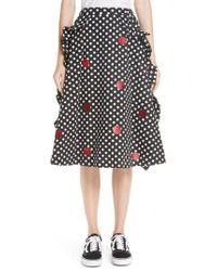 Paskal - Dot Print Ruffled A Line Skirt - Lyst