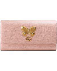 976ed2e3e7a131 Gucci - Farfalla Leather Continental Wallet - Lyst