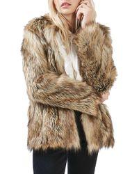 TOPSHOP - Ultimate Faux Fur Coat - Lyst