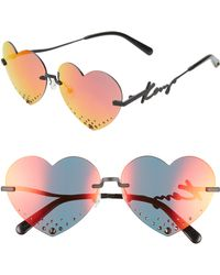 0b5917b8381 KENZO - 63mm Oversize Rimless Heart Sunglasses - - Lyst