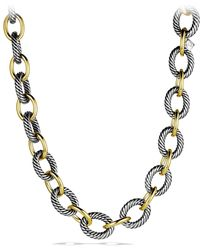 David Yurman - 'oval' Extra-large Link Necklace With Gold - Lyst